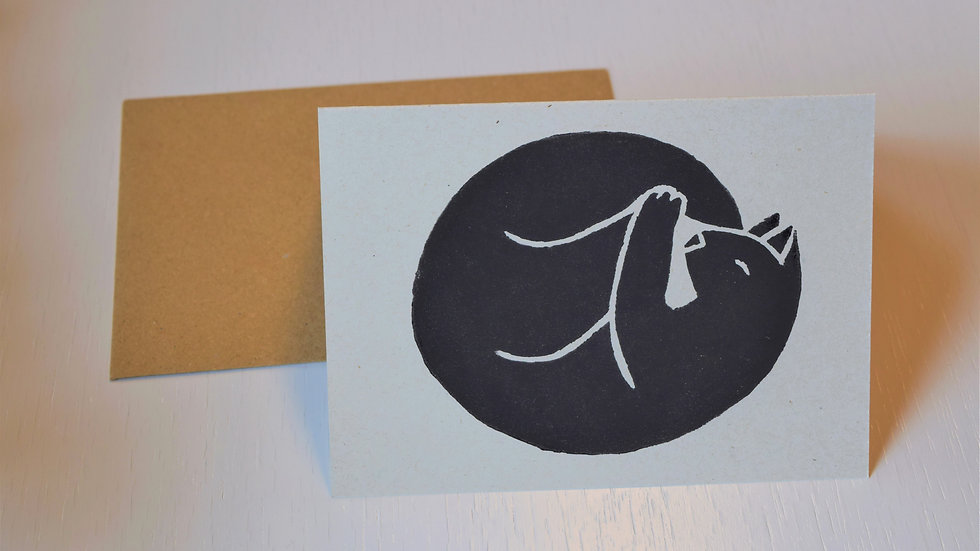 """Linocut greeting card: """"Napping Cat"""""""