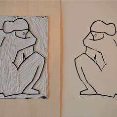 Linocut print of Nude 2