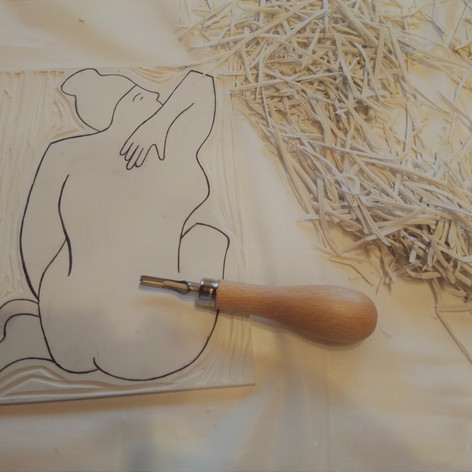 Linocarving of Nude 1