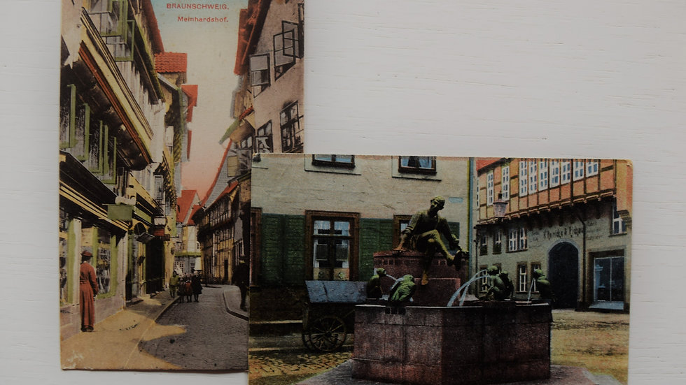 2 reprinted vintage postcards: Braunschweig