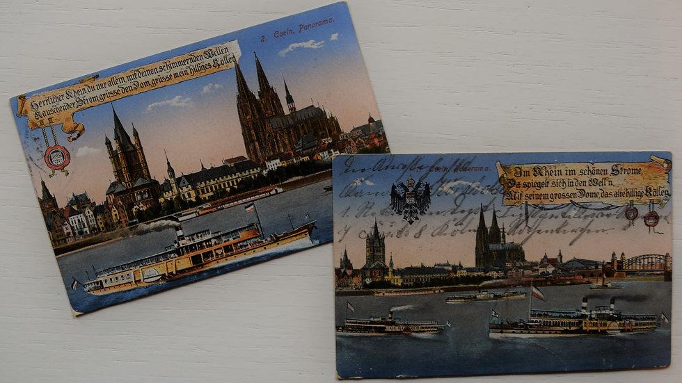 2 reprinted vintage postcards: River Rhine / Rhein