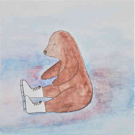 "Illustrated card | ""Mole Ice Skating"""