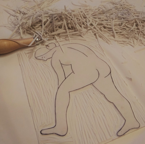 Linocarving of Nude 6