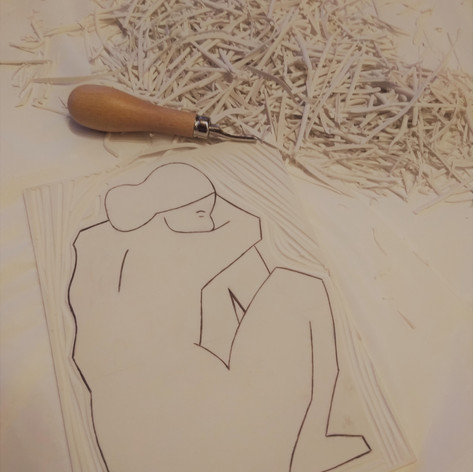 Linocarving of Nude 2