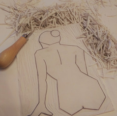 Linocarving of Nude 4