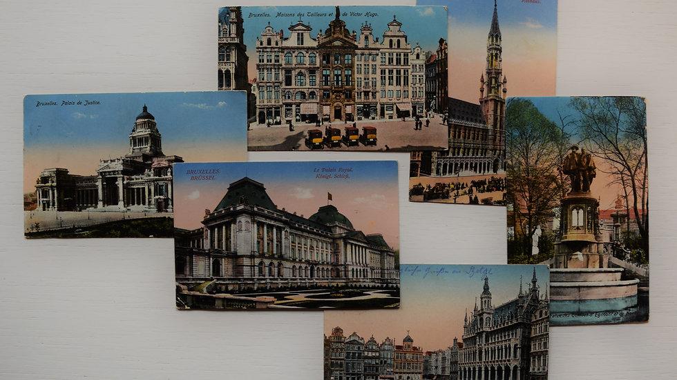 6 reprinted vintage postcards: Brussels / Bruxelles