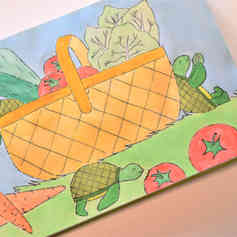 """Illustrated card   """"Turtles on a Picnic"""""""