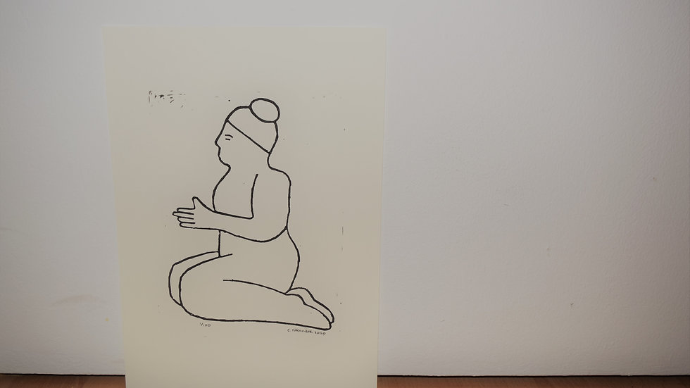 A4 linocut print, Nude 3: With Open Arms (side)