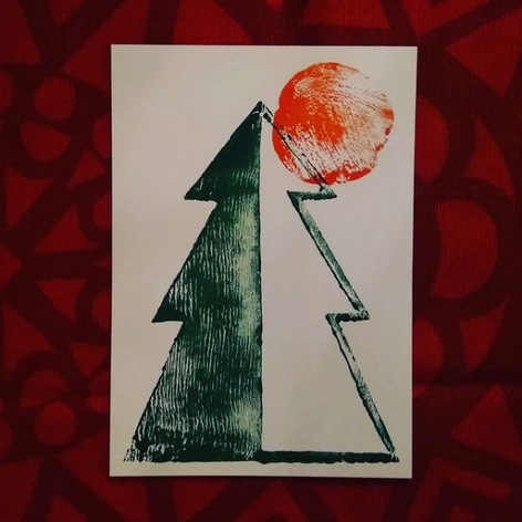 "Linocut card | ""Sunlight Through the Trees"""
