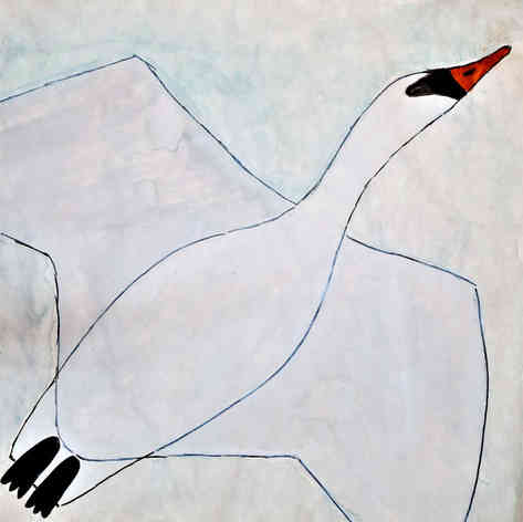 "Illustrated card | ""Swan Taking Flight"""