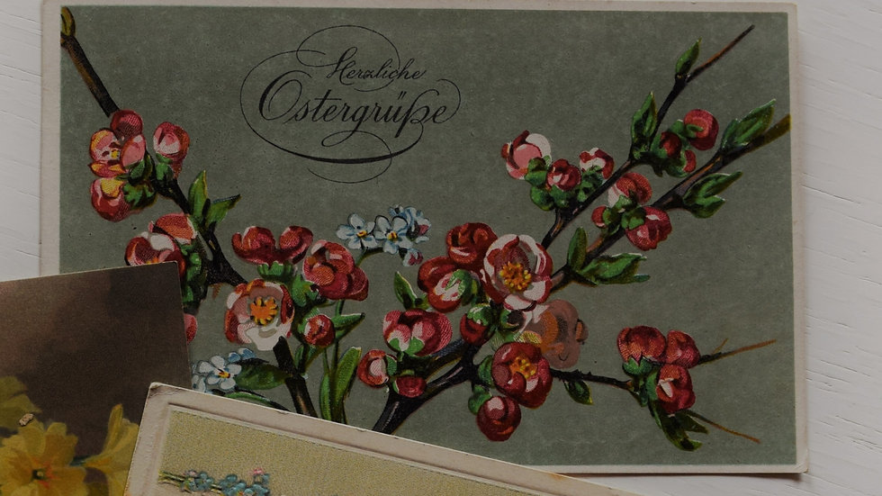 Reprinted vintage Easter greeting card (with spring blossoms)