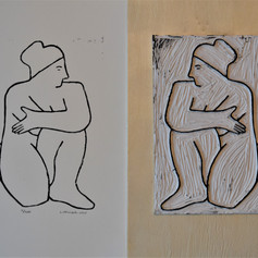 Linocut print of Nude 5