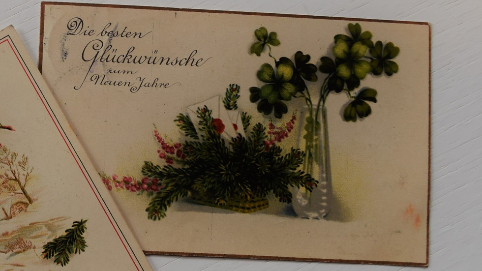 3 reprinted vintage New Year's postcards (with clovers)
