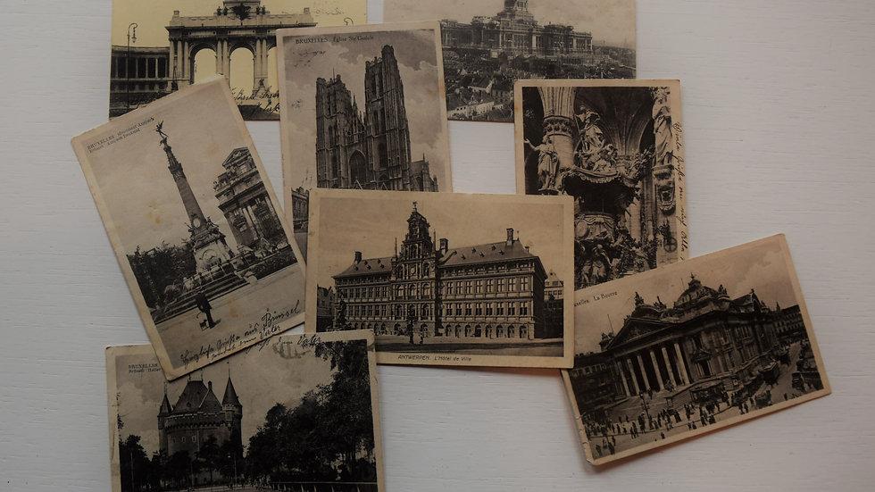 8 reprinted vintage postcards: Brussels / Bruxelles
