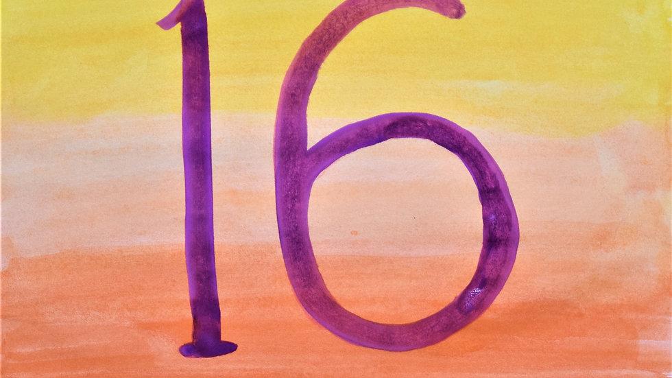 "Greeting card: ""16th birthday"""