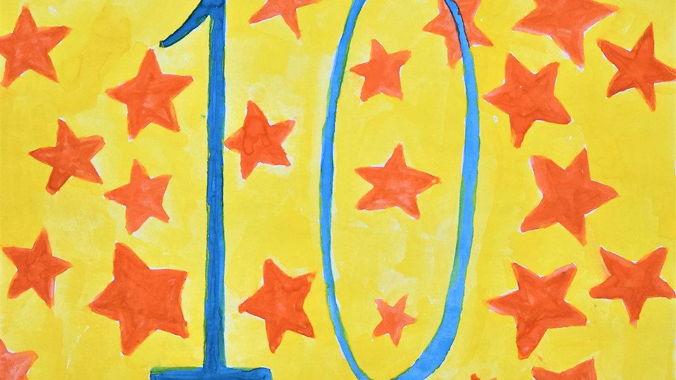 "Greeting card: ""10th birthday"""
