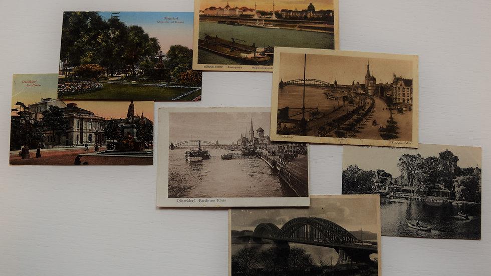 7 reprinted vintage postcards: Düsseldorf