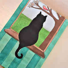 """Illustrated card   """"Cat at the Window"""""""
