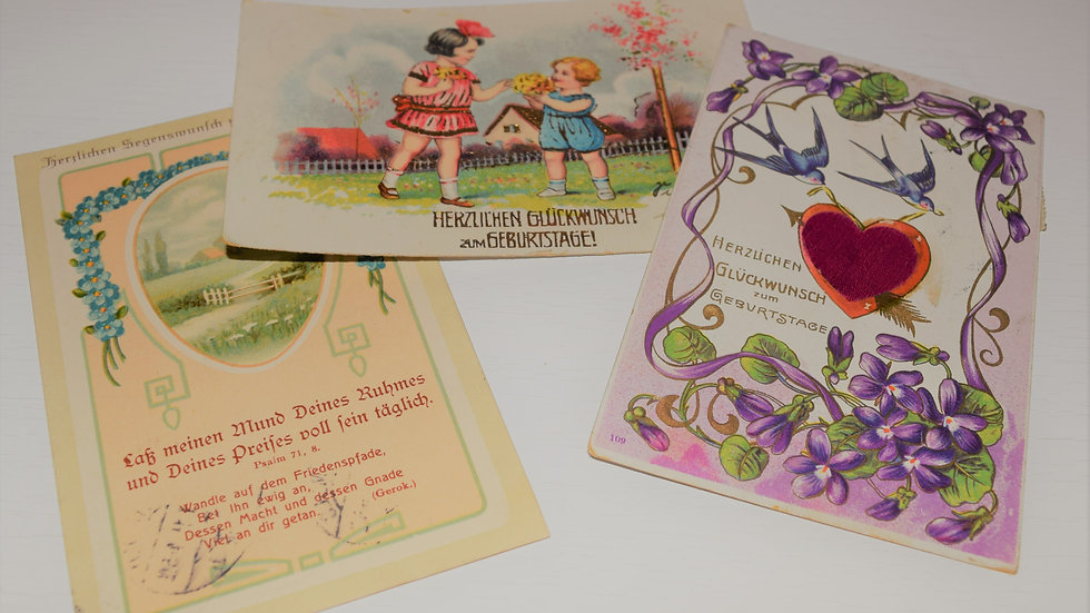 3 reprinted vintage postcards: Birthday Love