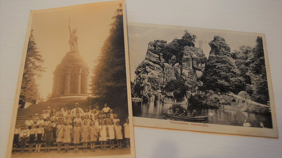 2 reprinted vintage postcards: Teutoburg Forest / Teutoberger Wald