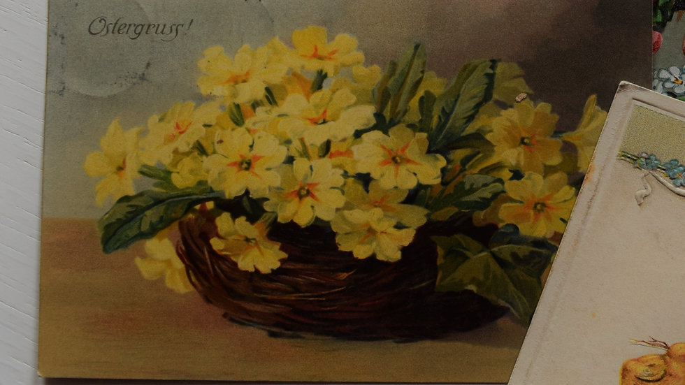 Reprinted vintage Easter greeting card (with yellow flowers)