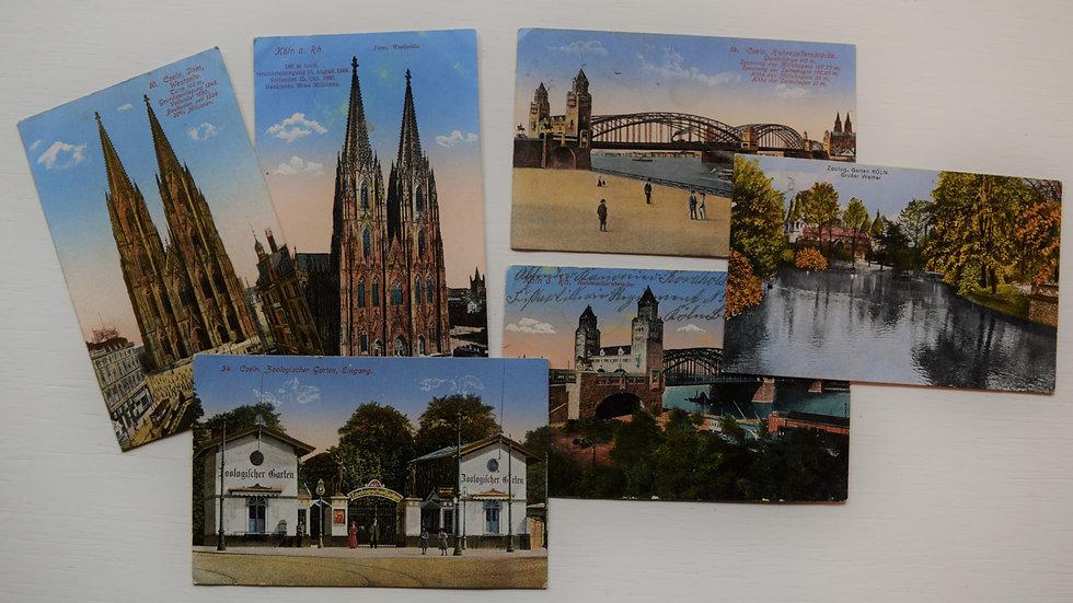 6 reprinted vintage postcards: Cologne / Köln