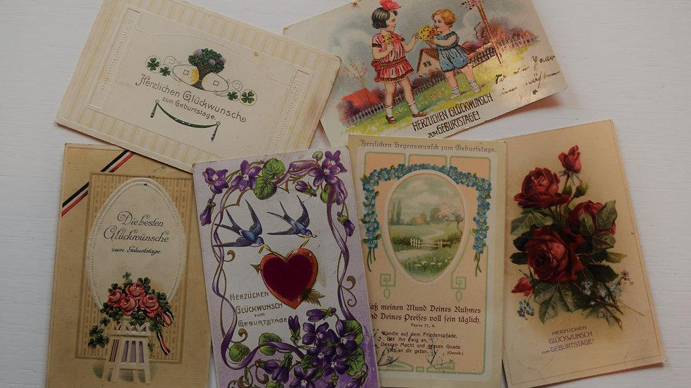 6 reprinted vintage postcards: Birthday / Geburtstag