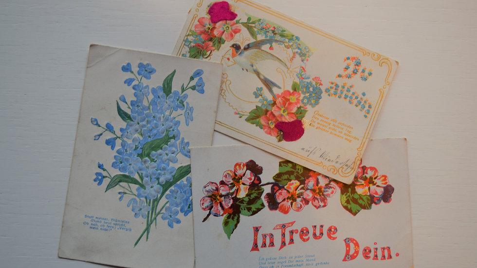 3 reprinted vintage postcards: Florals