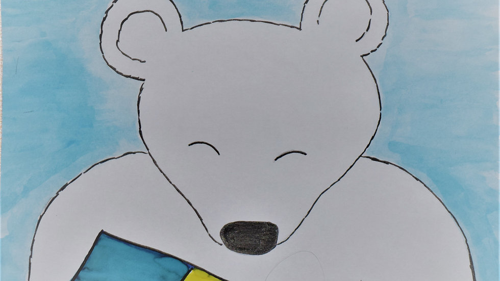 "Greeting card: ""Polar Bear with Gift"""