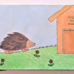 "Illustrated card   ""A Hegdehog's Home"""