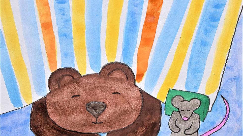 "Greeting card: ""Bear & Mouse Sleeping"""