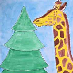 Giraffe with Christimas tree