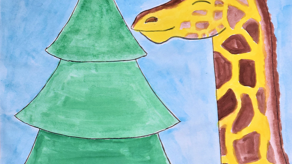 "Greeting card: ""Giraffe with Christmas Tree"""
