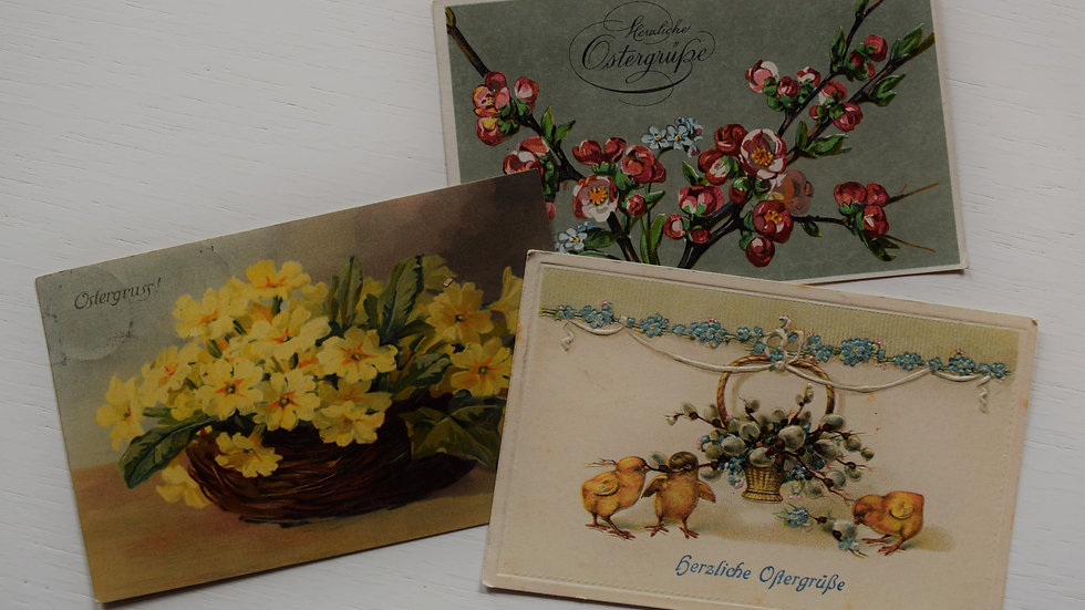 3 reprinted vintage postcards: Easter / Ostern