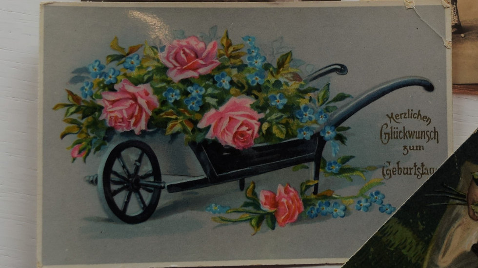 Reprinted vintage birthday greeting card (with flower cart)