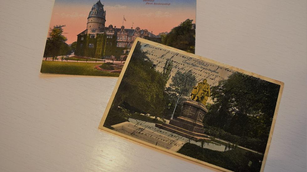 2 reprinted vintage postcards: Detmold