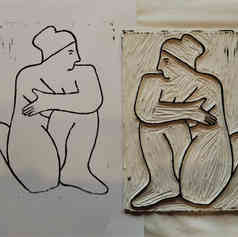 A4 linocut print, Nude 5: Hugging One Knee (front)