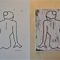 Linocut print of Nude 4