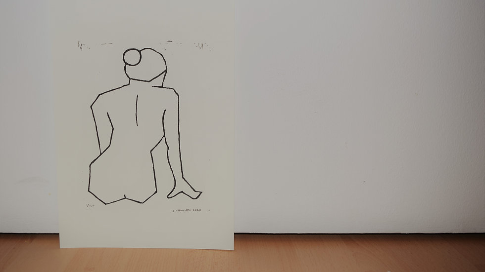 A4 linocut print, Nude 4: Leaning on One Hand (back)