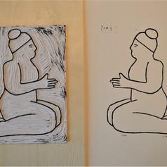 Linocut print of Nude 3