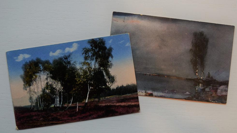 2 reprinted vintage postcards: Trees