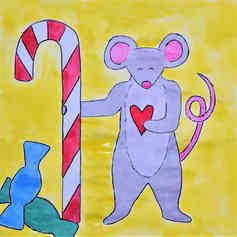 Mouse with candy cane