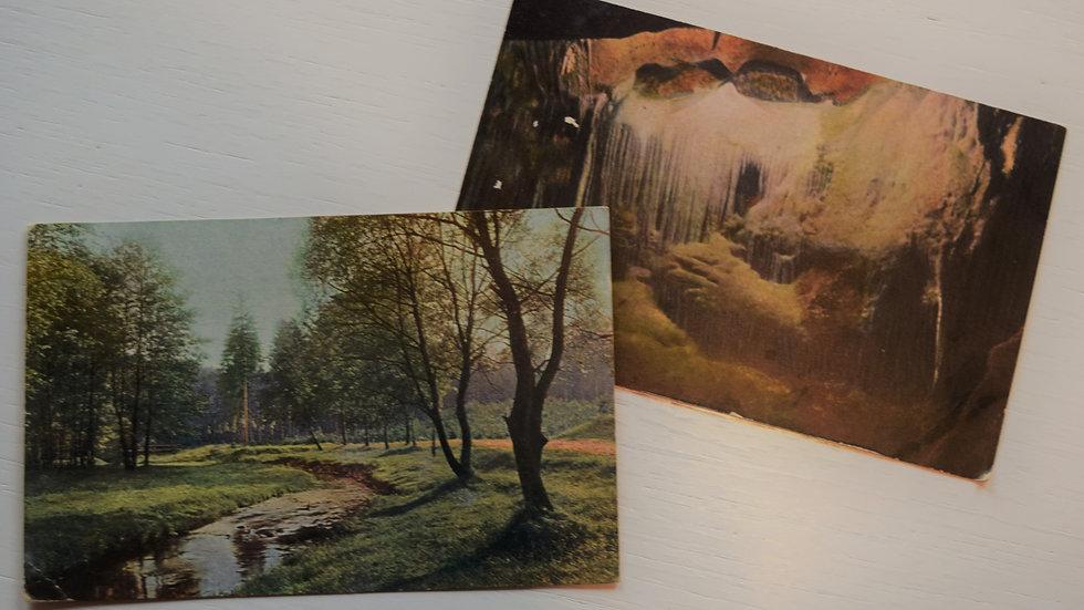 2 reprinted vintage postcards: Landscapes