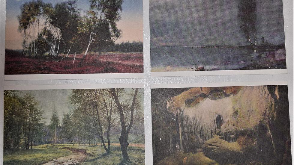 4 reprinted vintage postcards: Landscapes