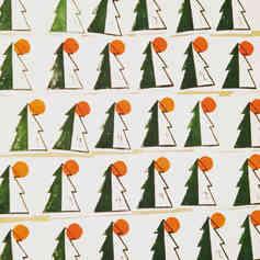 "Linocut card   ""Sunlight Through the Trees"""