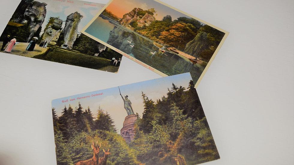 3 reprinted vintage postcards: Teutoburg Forest / Teutoberger Wald