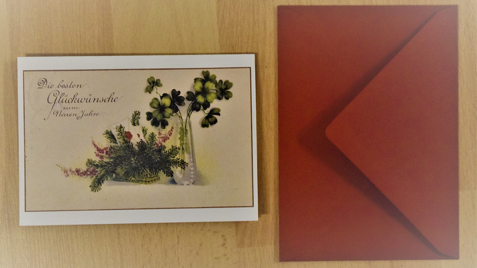 Reprinted vintage New Year's greeting card (with clovers)