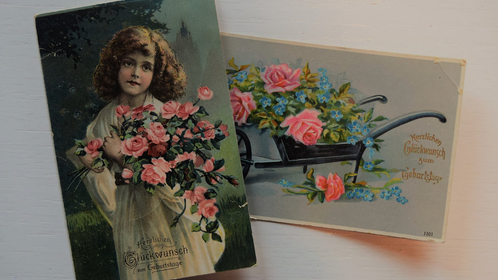 2 reprinted vintage postcards: Birthday Roses