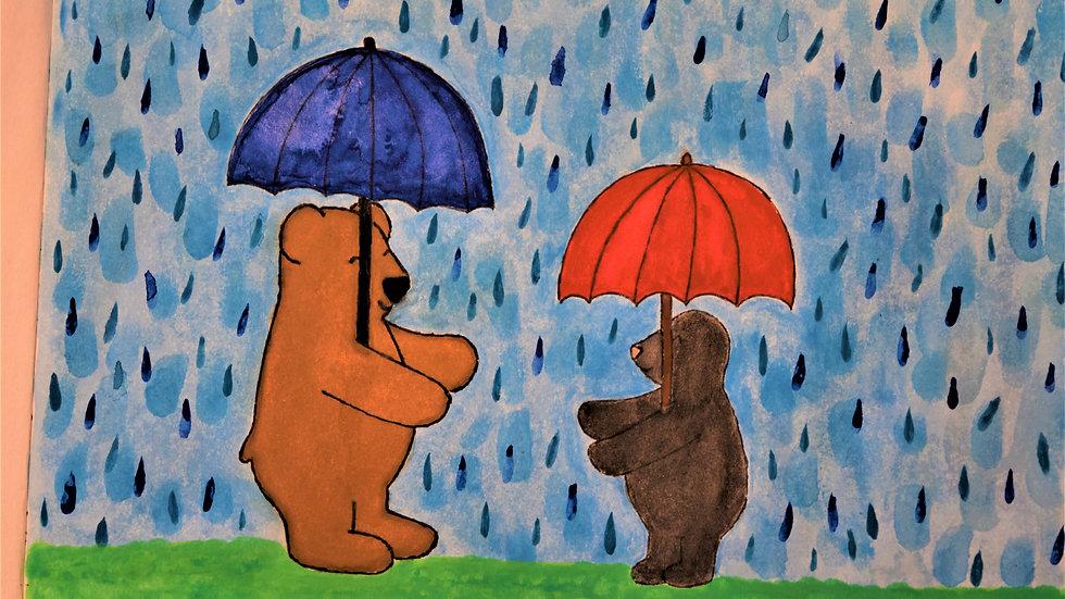 "Greeting Card: ""Hug in the Rain"""