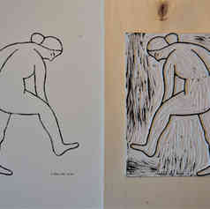 A4 linocut print, Nude 6: Stomping (side)